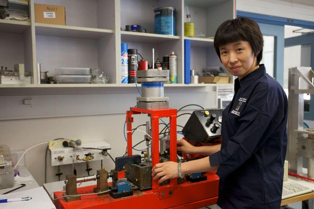 Ying Guo in soils lab